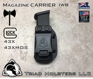 Magazine Carrier for Glock 43X, 43XMOS, 48 in Tactical Black, Inside the Waistband.