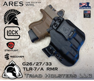 ARES Holster shown for the Glock 26/27/33 equipped with the Streamlight TLR-7/A, Recover Tactical Rail, and the MIE Productions Custom Key, and a RMR Optic