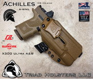 Achilles IWB Holster for the Zev Technologies OZ-9 Standard and Compact Slide equipped with the Surefire X300 A/B , shown in Coyote Tan.