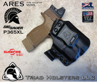 ARES WML holster for the Sig Sauer P365XL with a Red Dot Optic and Surefire XSC Weapon Mounted Light  installed. Shown in Tactical Black. Right Hand, 1.5 Inch Belt Clip.