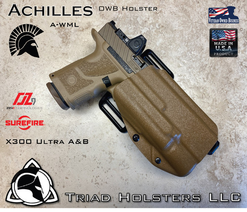 Achilles OWB Holster for the Zev Technologies OZ-9 Compact and Standard Length Slides, equipped with the Surefire X300 A/B , shown in Coyote Tan.