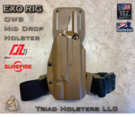 EXO Holster for the ZEV OZ-9 Compact and Standard Length Slides and the X300 Weapon Mounted Light shown in Coyote Tan.