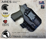 "ARES Holster shown for the Icarus Precision A.C.E. 320 X-Compact, equipped with the Streamlight TLR-7 weapon mounted light.  Shown in Tactical Black, Right Hand Only available at this time, and 1.5"" Black Clip."