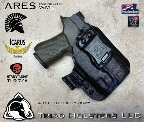 """ARES Holster shown for the Icarus Precision A.C.E. 320 X-Compact, equipped with the Streamlight TLR-7 weapon mounted light.  Shown in Tactical Black, Right Hand Only available at this time, and 1.5"""" Black Clip."""