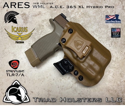 """ARES Holster shown for the Icarus Precision A.C.E. 365 XL Hybrid Pro, equipped with the Streamlight TLR-7A weapon mounted light.  Shown in Coyote Tan, Right Hand Only available at this time, and 1.5"""" Coyote Tan Clip."""