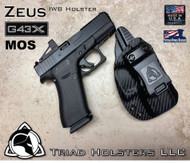 "ZEUS Holster shown for the Glock 43X MOS, Right Hand Draw, in Carbon Fiber Black, with Black Enhanced Triad Spartan 1.75"" Clip, Zero Cant Angle."
