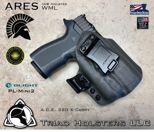 "Ares WML Holster shown for the  weapon mounted light and RMR Optic, Right Hand Draw, in Lonewolf Gray, with Black Enhanced Triad Spartan 1.5"" Clip, Zero Cant Angle"