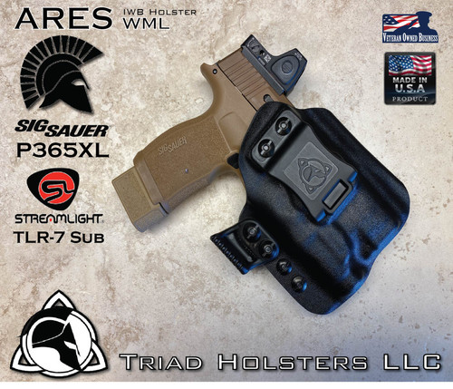 ARES WML  holster for the Sig Sauer P365XL and the Streamlight TLR7 SUB  in Tactical Black, Right Hand, with Red Dot, RMR option.