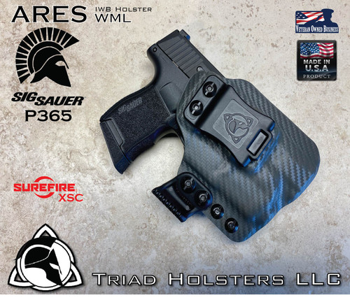 ARES WML Holster for the Sig Sauer P365 and the Surefire XSC Compact Weapon Light.  Shown in Carbon Fiber Lonewolf Grey.
