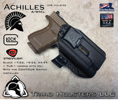 """Achilles Holster shown for the Glock 19/17/34 Various Models equipped with Streamlight TLR-1 and TLR-1HL, Right Hand Draw, in Tactical Black, with 1.5"""" Clip, Adjustable Cant Angle and Retention."""