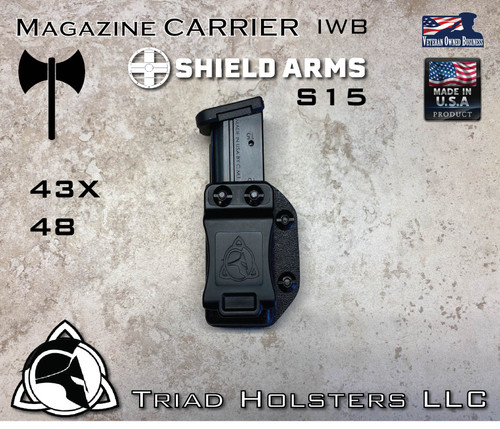 Magazine Carrier for the Shield Arms S15 Glock  43X and 48 all steel Magazines, in Tactical Black, Inside the Waistband.