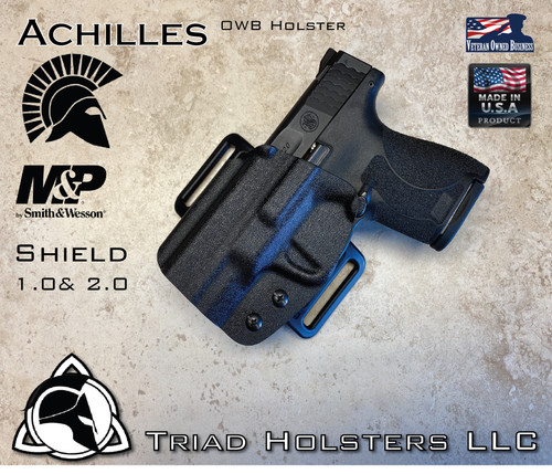 Achilles Holster for the Smith and Wesson Shield 1.0 and 2.0, in Tactical Black, Outside the Waistband, shown in the Left Hand Version