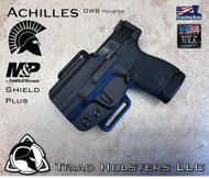 Achilles Holster for the Smith and Wesson Shield Plus, in Tactical Black, Outside the Waistband, shown in the Left Hand Version