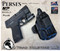 """Perses Rare Earth Magnet Retention Holster for the Smith and Wesson Shield Plus 9mm and the Olight PL-Mini 2.  Shown in Tactical Black with 1.5"""" Black Belt Clip, No Talon Claw."""