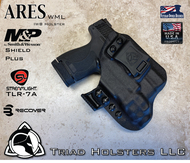 ARES WML holster for the Smith and Wesson Shield Plus with the Streamlight TLR-7A  Weapon Mounted Light  installed. Shown in Tactical Black. Right Hand, 1.5 Inch Belt Clip.