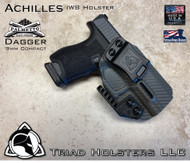 """Achilles Holster shown for the Palmetto State Armory 9mm Compact, Right Hand Draw, in Carbon Fiber Lonewolf Gray, with Triad Holsters Spartan Logo 1.5"""" Belt Clip,  Adjustable Cant Angle."""