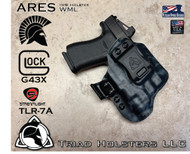ARES WML holster for the Glock 43X and the TLR-7A with the Recover Tactical GR43 Rail Adaptor and the MIE Productions Key Adapter, with RMR Option