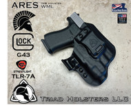 ARES WML holster for the Glock 43 and the TLR-7A with the Recover Tactical GR43 Rail Adaptor and the MIE Productions Key Adapter