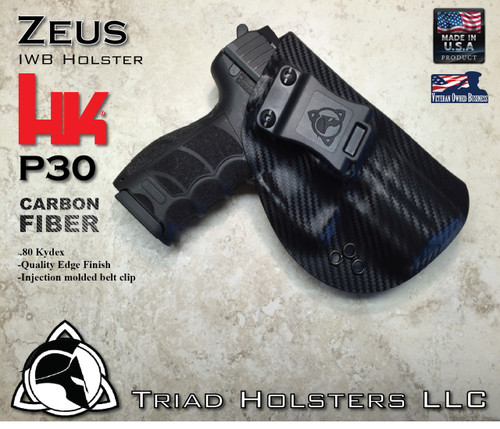 "ZEUS Holster shown for the HK P30, Right Hand Draw, in Carbon Fiber, with Black Enhanced Triad Spartan 1.5"" Clip, Zero Cant Angle."