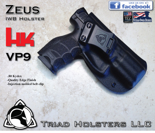 "ZEUS Holster shown for the HK VP9, Right Hand, in Tactical Black, with Enhanced Triad Spartan 1.5"" Clip, 15 Degree Forward Cant angle"