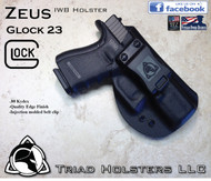 "ZEUS Holster shown for the Glock 23, Right Hand Draw, in Tactical Black, with Black Enhanced Triad Spartan 1.5"" Clip, Zero Cant Angle."