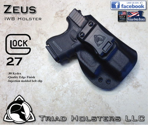 """ZEUS Holster shown for the Glock 27, Right Hand, in Tactical Black, with 1.5"""" Clip, Zero Cant Angle, with Enhanced Triad Spartan Belt Clip."""
