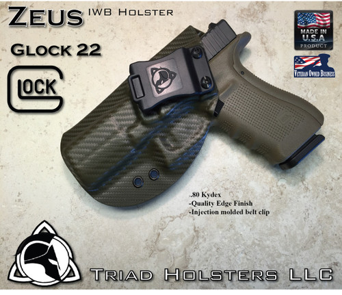 "ZEUS Holster shown for the Glock 22, Left Hand, in Olive Drab Carbon Fiber, with Black Enhanced Triad Spartan Logo 1.5"" Belt Clip, 15 Degree Cant Angle."