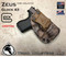 "ZEUS Holster shown for the Glock 43, Right Hand Draw, in Kryptek Banshee, with Coyote Tan Enhanced Triad Spartan 1.5"" Clip, Zero Cant Angle."