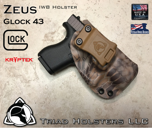 """ZEUS Holster shown for the Glock 43, Right Hand Draw, in Kryptek Banshee, with Coyote Tan Enhanced Triad Spartan 1.5"""" Clip, Zero Cant Angle."""