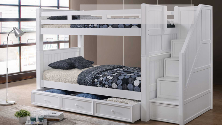 White Twin Bunk Bed with Stairs