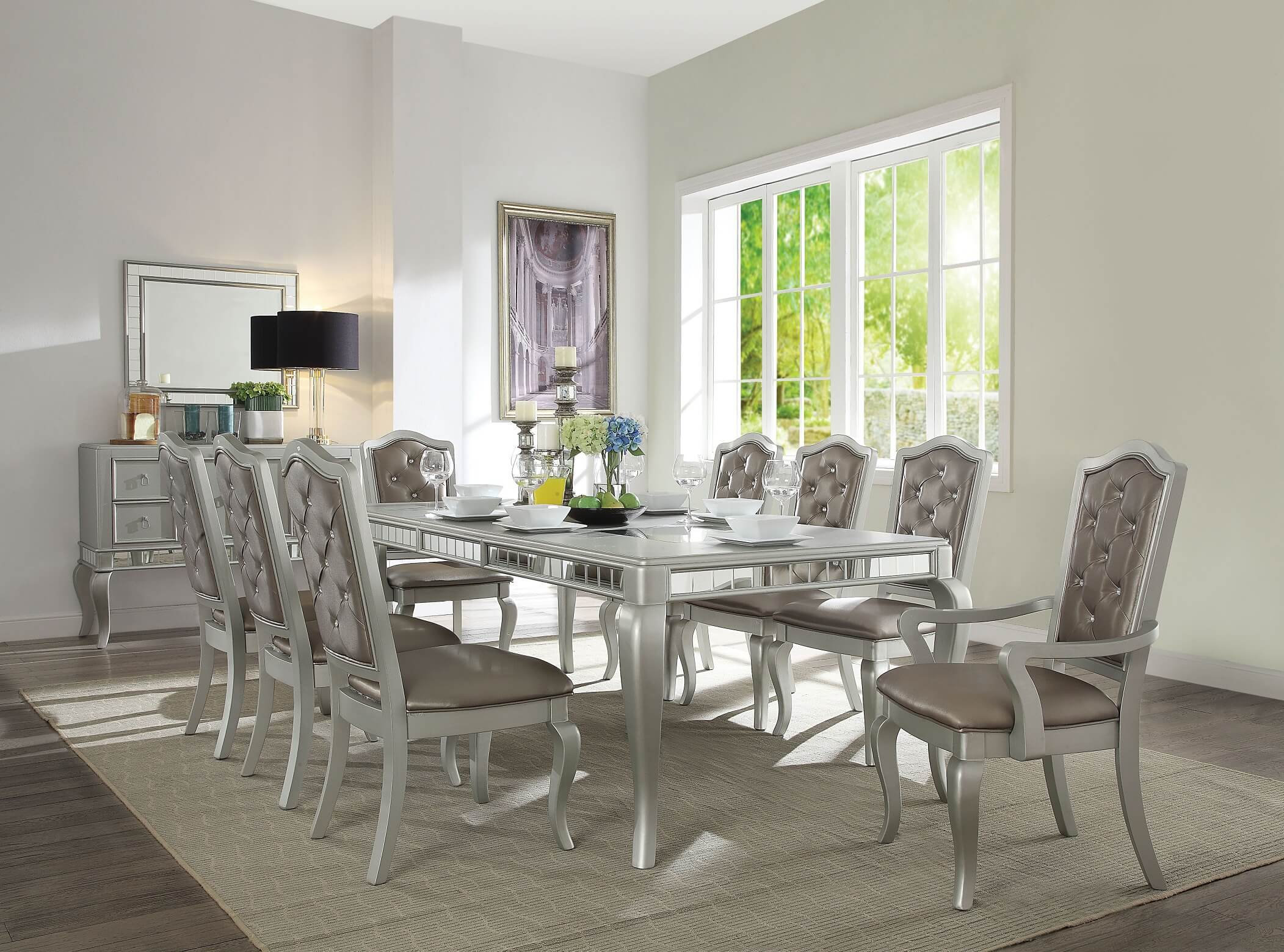 Francesca Champagne Finish 7-piece Dining Set