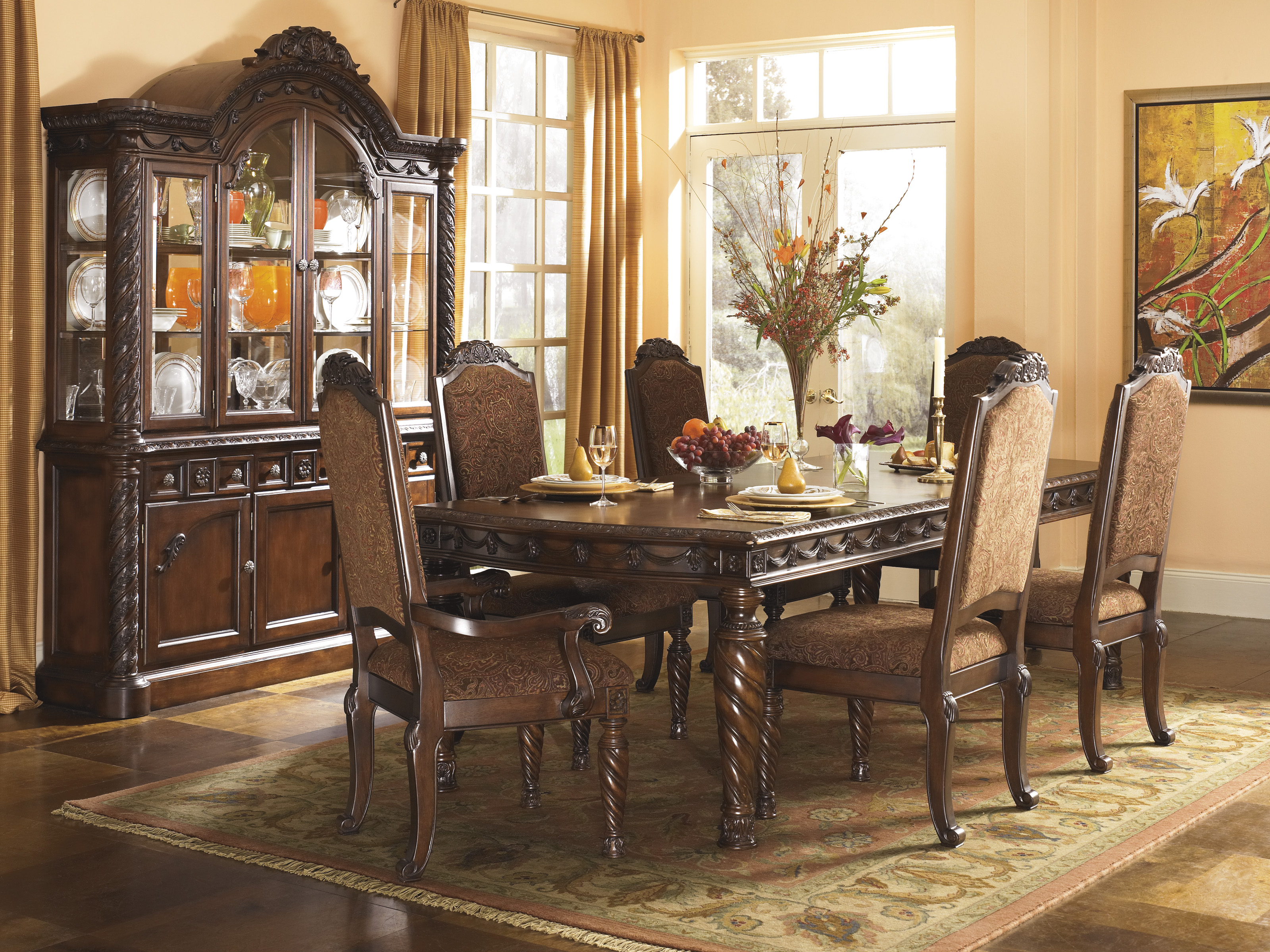 Ashley D533 7-Piece North Shore Pedestal Table Dining Room Set