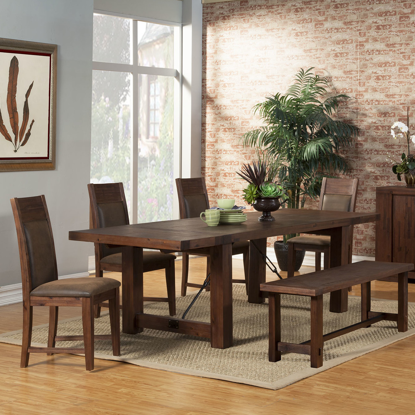 Antique Cappuccino Table with 4 Chairs & Benc