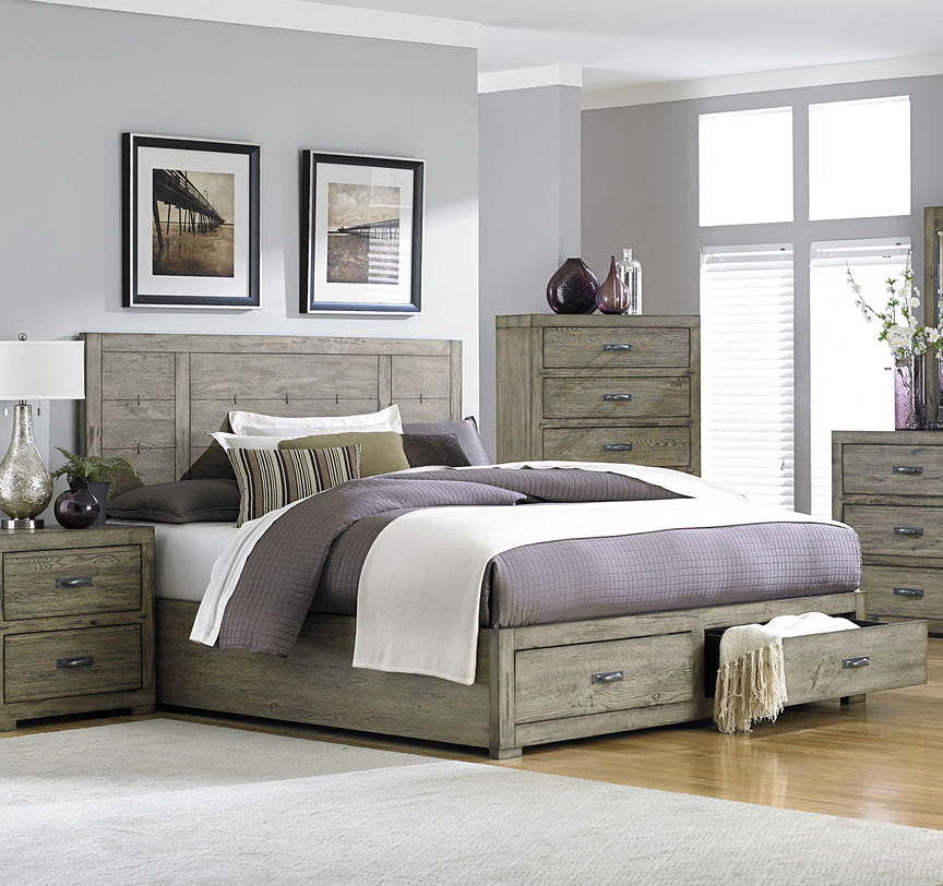 Driftwood Platform Bed with Drawers