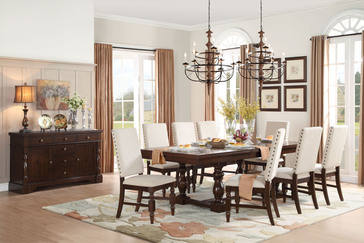 Burnished Oak Dining Room Table with Parsons Chairs