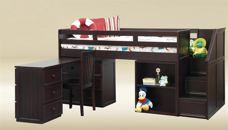 Wood Loft Bed with Desk and Chest