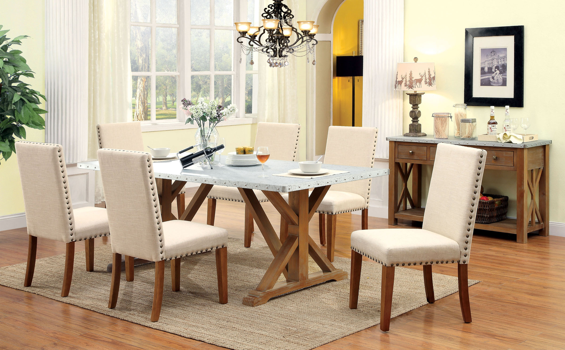 Natural Galvanized Dining Table Set