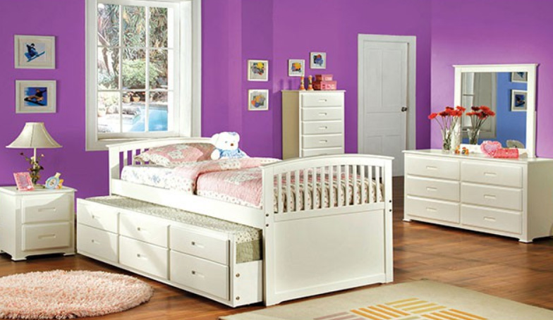 White Bed with Trundle & Drawers