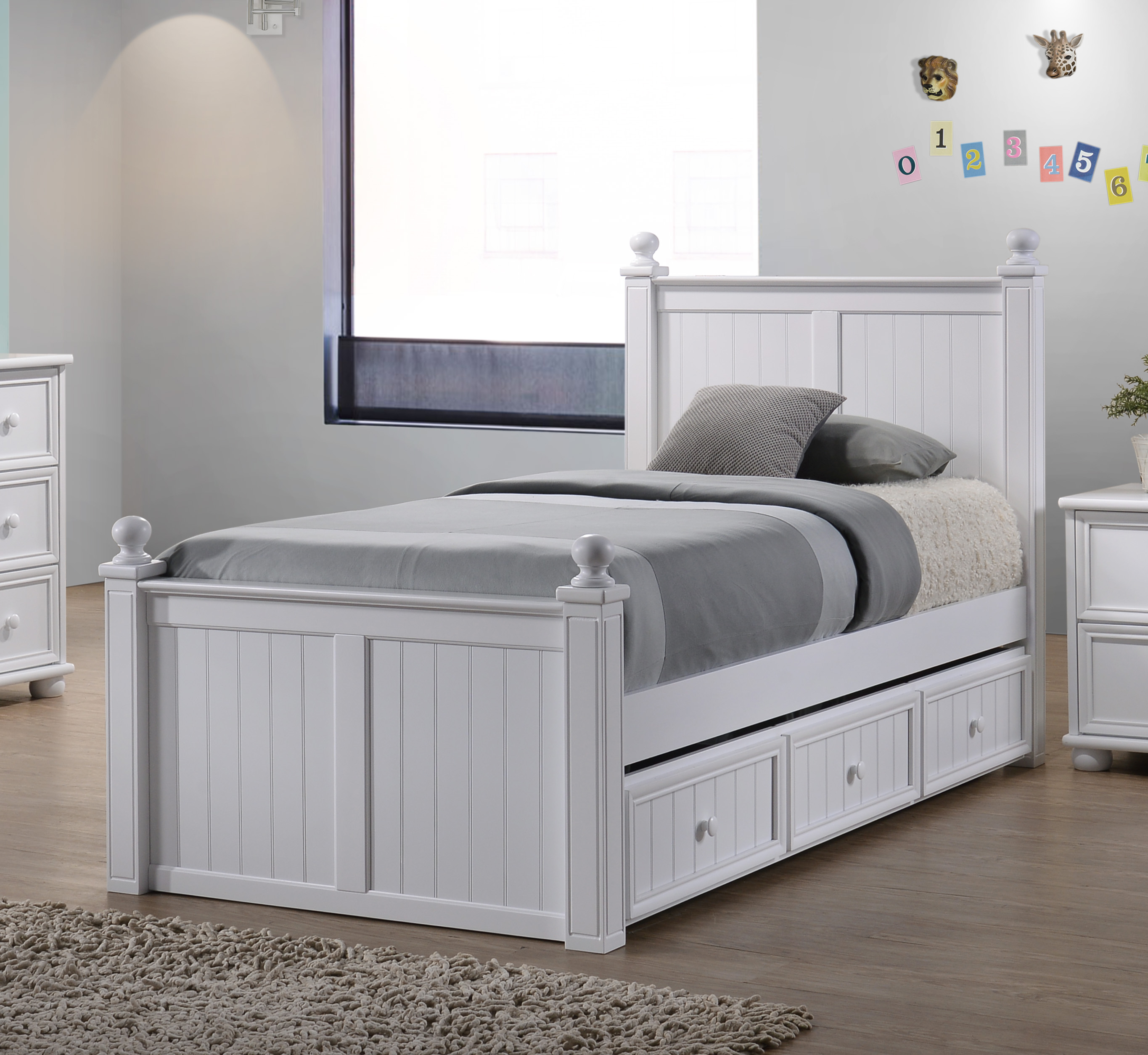 Bead Board Twin Bed with Drawers
