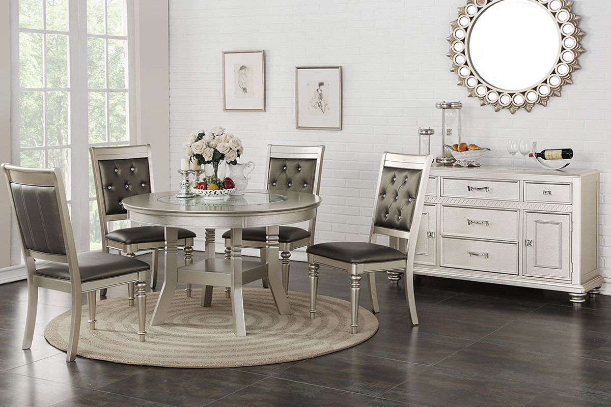 Stella Silver Round Dining Table Set