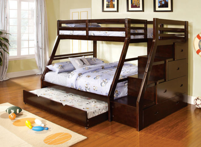 Walter Espresso Twin Over Full Bunk Bed With Steps And Drawers