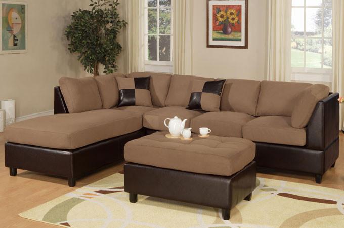 Left Saddle Sectional Sofa Set w/ Chaise and Ottoman