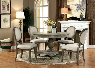 Kathryn 5Pc Rustic Oak Round Dining Set for 4