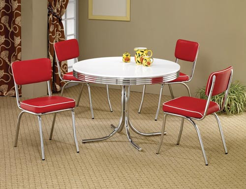 Round Chrome Retro Dining Table
