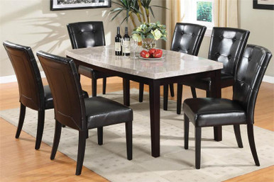 Marion I Marble Top Espresso Table & Chairs