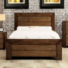 Aveiro Rustic Plank Style Platform Bed   Furniture of America CM7627 Queen King Wood Platform Bed