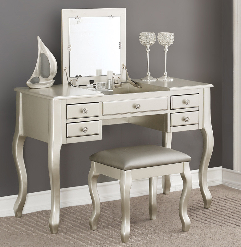 Tilly Makeup Vanity Table With Mirror Silver Vanity Tables Reviews