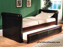 Downtown Espresso Bi-cast Leather Daybed with Trundle