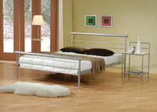 Contemporary Queen Metal Silver Platform Bed