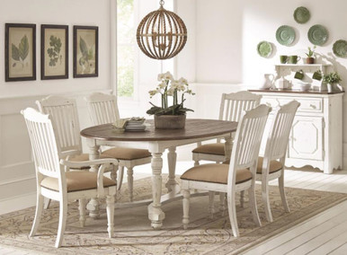 Simpson Vintage White 7pcs Oval Dining Table Set